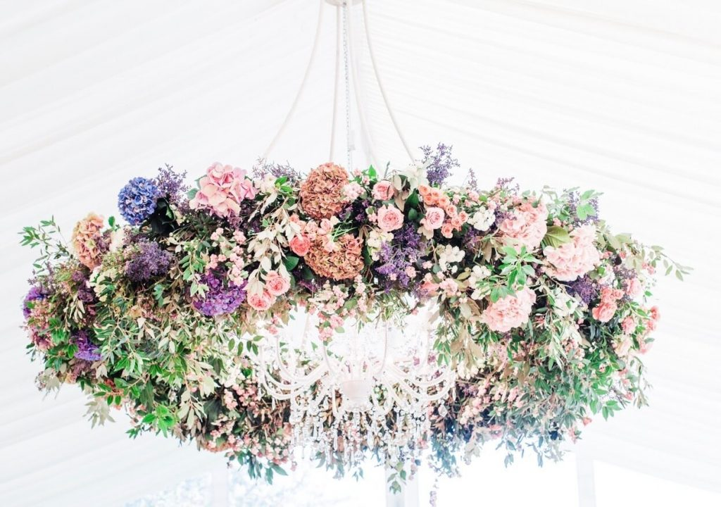 suspended floral installation West Sussex wedding flowers