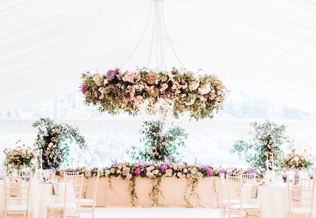 West Sussex wedding flowers full marquee set up