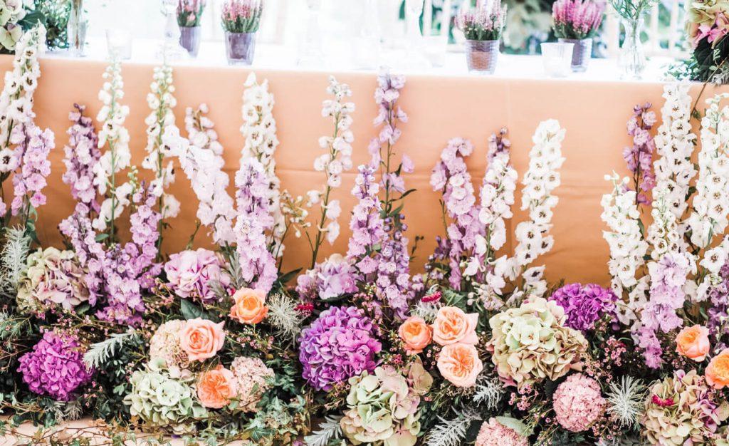 floral floor piece delphiniums West Sussex wedding flowers
