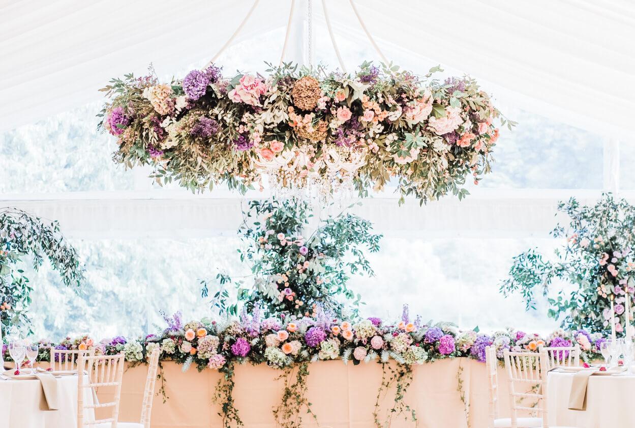 top table suspended floral arrangement West Sussex wedding flowers