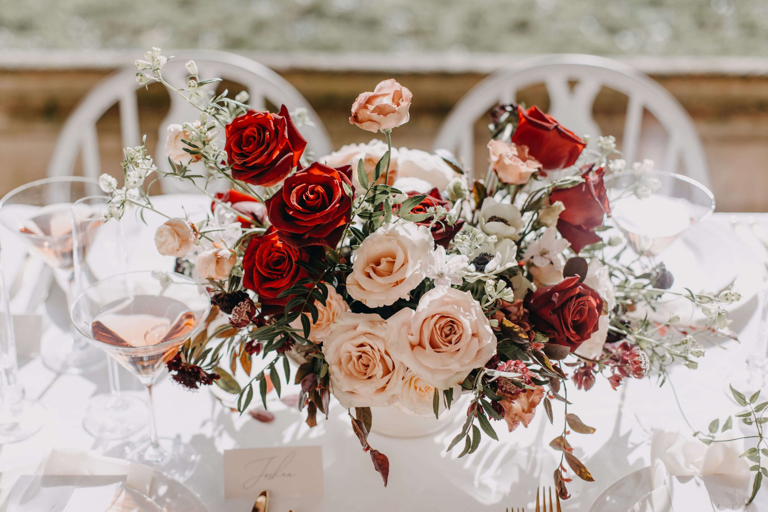 Surrey wedding flowers low table rose feature